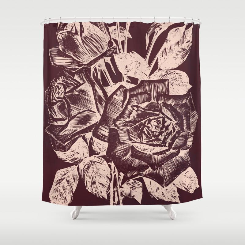 Burgundy In Rose Gold Shower Curtain By Warlockpie Society6