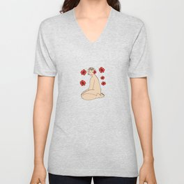 Nude 22 and red flowers Unisex V-Neck