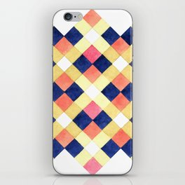 Colorful pink yellow navy blue watercolor geometrical pattern iPhone Skin