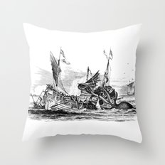 1810 vintage nautical octopus steampunk kraken sea monster drawing print Denys de Montfort retro Throw Pillow