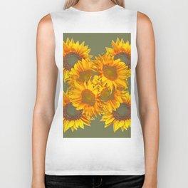 Golden Sunflowers on Putty Color  Art Biker Tank