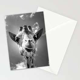 Cool Giraffe Black and White Stationery Cards