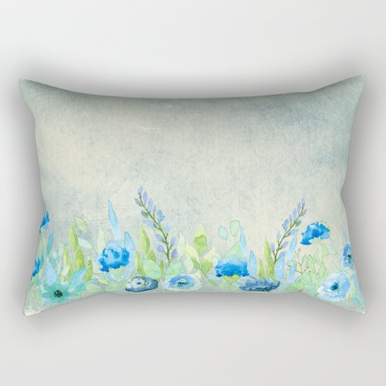 Blue flowers and roses in a meadow- Floral watercolor illustration Rectangular Pillow