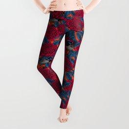 Red waratah and fairy wrens  Leggings