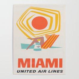 Miami Retro Vintage Travel Poster Poster