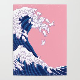 Llama Waves in Pink Poster