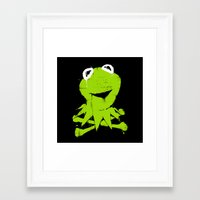 kermit Framed Art Prints featuring Pochoir - Kermit by Krikoui
