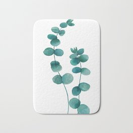 green eucalyptus watercolor Bath Mat