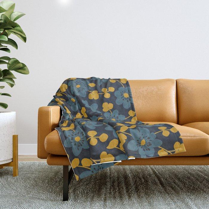 Floral pattern. Hepatica flowers Throw Blanket