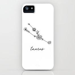 Taurus Floral Zodiac Constellation iPhone Case