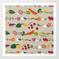 vegetarian Art Prints featuring Vegetarian pattern by Darish