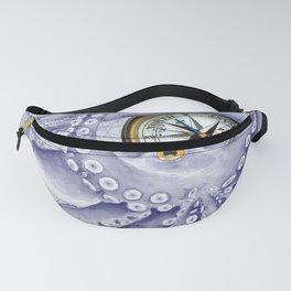 Purple Blue Octopus Compass Nautical Fanny Pack