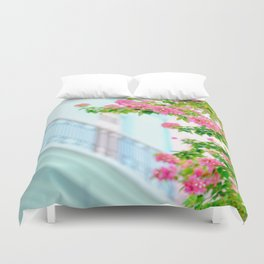 Colonial Havana Architecture with Pink Bougainvillea Duvet Cover