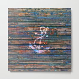 Nautical blue pink watercolor rustic wood white anchor Metal Print