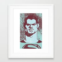 man of steel Framed Art Prints featuring THE MAN OF STEEL by nachodraws