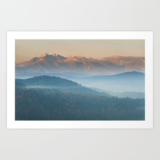 The mountains are calling #sunset Art Print