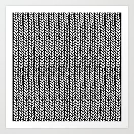 Knit Wave Black Art Print