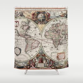 Vintage Maps Of The World Shower Curtain