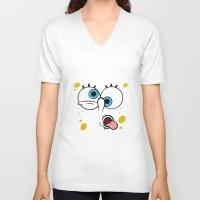 spongebob V-neck T-shirts featuring Spongebob Crazy Face by Cute Cute Cute