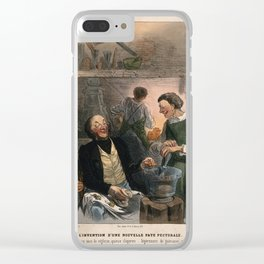A cynical doctor describes the contents of his new cough mixture. Coloured lithograph by C. Jacque, Clear iPhone Case