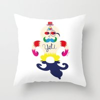 yeti Throw Pillows featuring Yeti by Lucy Irving
