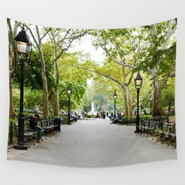 Morning Stroll in the Village Wall Tapestry