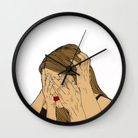 introvert Wall Clocks featuring Introvert 6 by Heidi Banford