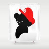 super mario Shower Curtains featuring Super Mario by Bonitismo