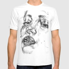 Colored Pencil Portrait White Mens Fitted Tee MEDIUM