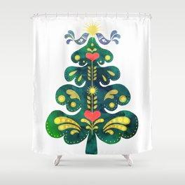 Traditional Scandinavian Folk Art Tree Shower Curtain