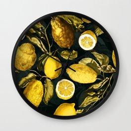 Lemon and Leaf Pattern V Wall Clock