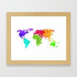 World map ink droplets splash  Framed Art Print