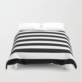 Black and White Medium Stripes Pattern Duvet Cover