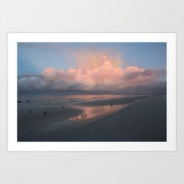 Morning Walk on the Beach Art Print