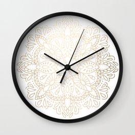 Mandala White Gold Shimmer by Nature Magick Wall Clock