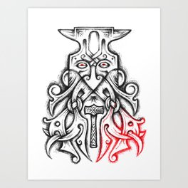 Coal-Dread Anvil Head Art Print