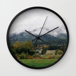 Foggy day in Woodland Wall Clock