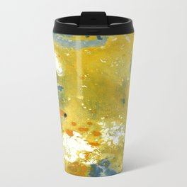 Abstract Acrylic Painting YELLOW Travel Mug