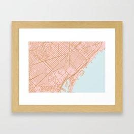 Barcelona map, Spain Framed Art Print