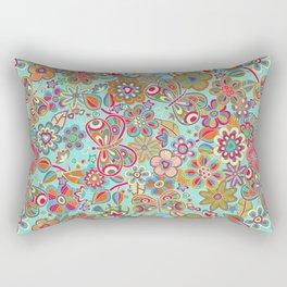 My flowers and butterflies in blue.  Rectangular Pillow