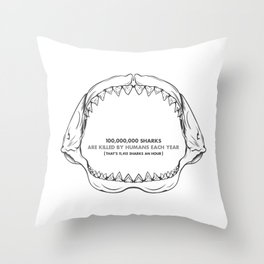 Bite Me Jaws Throw Pillow