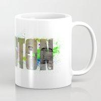 houston Mugs featuring Houston by Tonya Doughty
