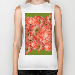 Peppermint Color Amaryllis Flower Avocado Pattern Biker Tank