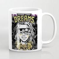 cyberpunk Mugs featuring TEENAGE SPACE DREAMS by Lokhaan