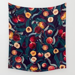 Nectarine and Leaf pattern Wall Tapestry