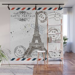 Art hand drawn design with Eifel tower. Old postcard style Wall Mural
