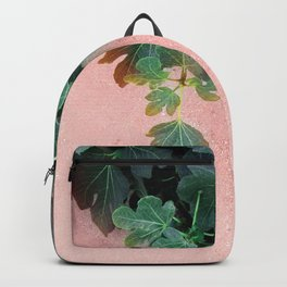 Pink Green Leaves Backpack