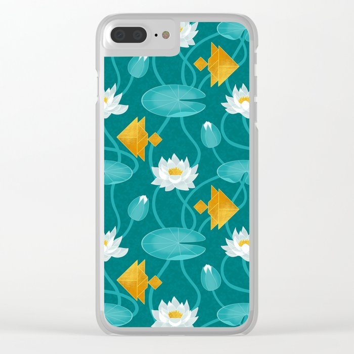 Tangram goldfish and water lillies Clear iPhone Case