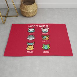 How not to wear a face mask  animals cute funny Rug