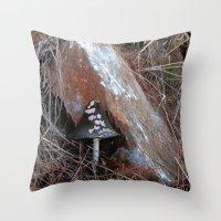 mushroom Throw Pillows featuring Mushroom by aeolia